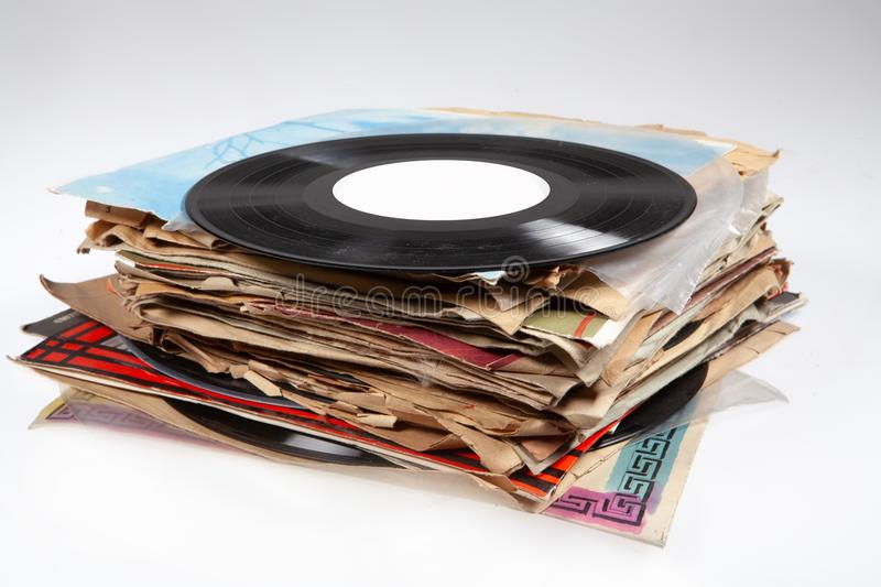 Batch Of Old Vinyl Discs. On isolated background stock photo
