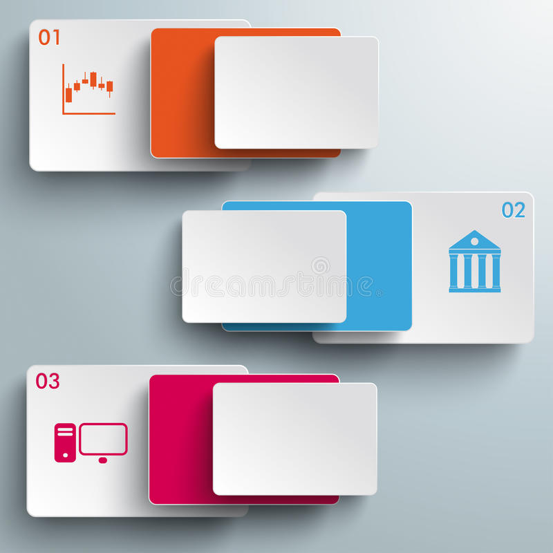 Batched Colored Rectangles 3 Options PiAd. Batched rectangles on the grey background. Eps 10 file stock illustration