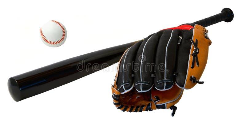 Bate de béisbol, bola y guante imagen de archivo