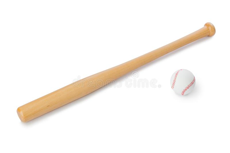 Bate de béisbol y bola fotografía de archivo libre de regalías