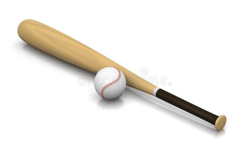 Bate de béisbol y bola stock de ilustración