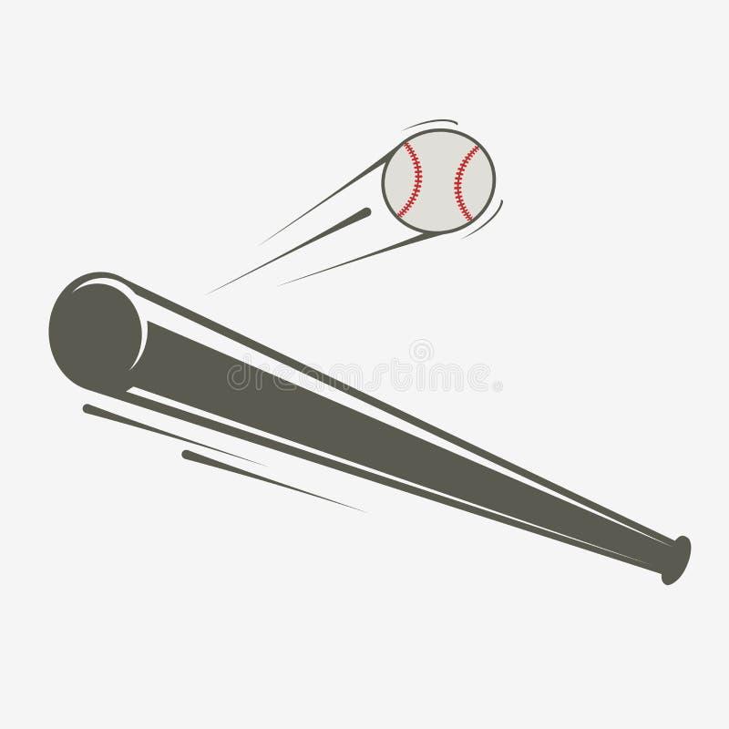 Bate de béisbol y bola ilustración del vector