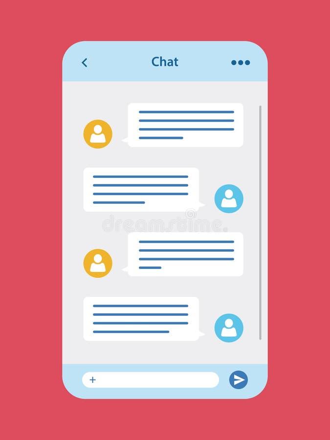 Bate-papo app da mensagem ilustração stock