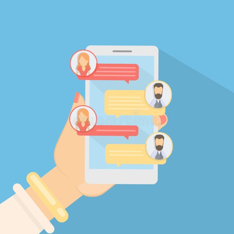 Bate-papo através do smartphone ilustração royalty free