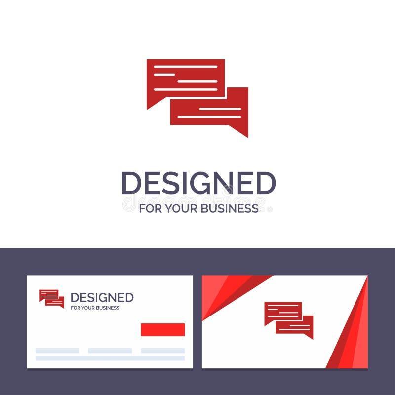 Bate-papo do molde criativo do cartão e do logotipo, bolha, bolhas, uma comunicação, conversação, social, ilustração do vetor do  ilustração stock
