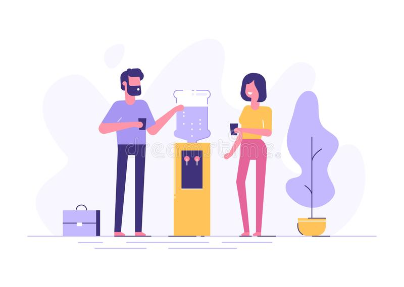 Bate-papo do refrigerador do escritório Vetor ilustração do vetor