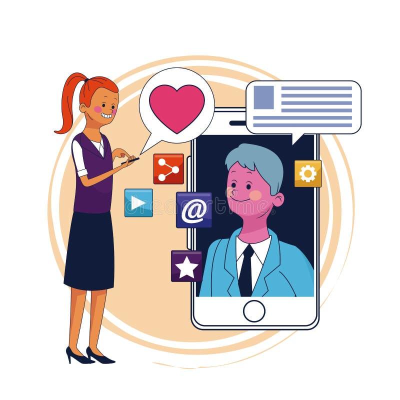 Bate-papo e smartphone ilustração stock
