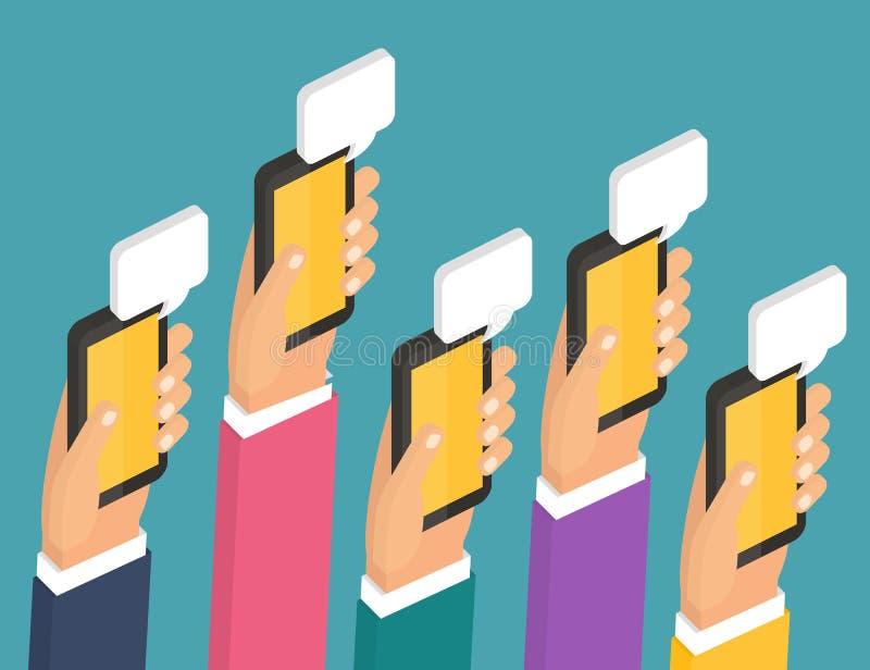 Bate-papo móvel de Instant Messenger, 3d horizontalmente isométrico ilustração stock