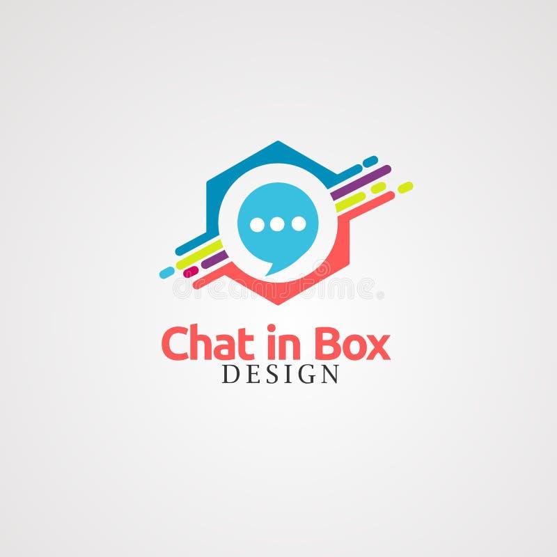 Bate-papo na caixa com o colorido no vetor, no ícone, no elemento, e no molde do logotipo da caixa digital para a empresa ilustração stock