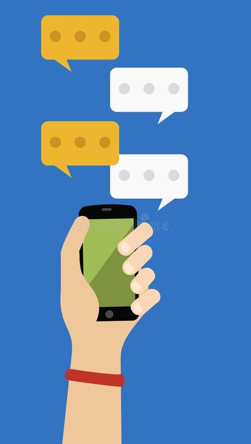 Bate-papo social do telefone ilustração stock