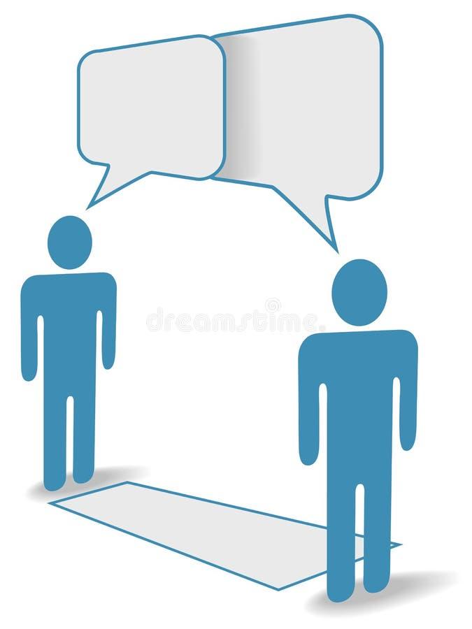 Bate-papo social dos povos através da distância de uma comunicação ilustração do vetor