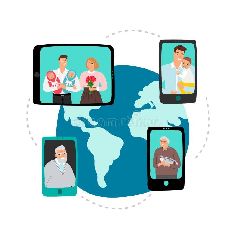 Bate-papo video da família Conceito do vetor de uma comunicação da rede global ilustração stock