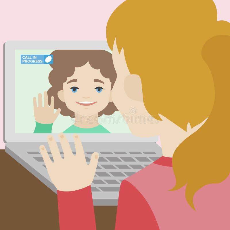 Bate-papo video da ilustração lisa de duas amigas ilustração do vetor