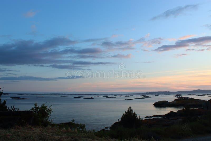 Bateas bij zonsondergang in Galicië royalty-vrije stock afbeelding
