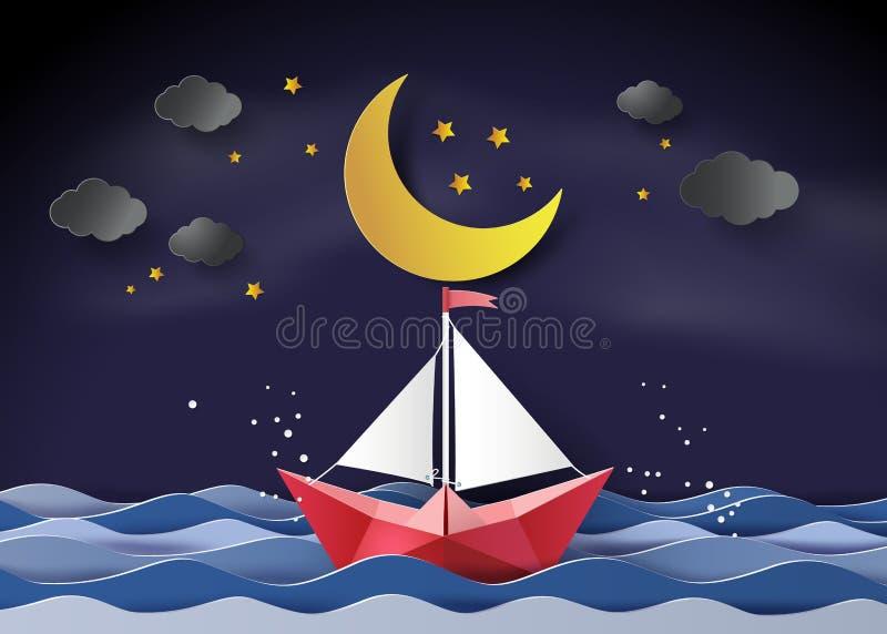 bateau à voile flottant sur la mer en demi-lune illustration de vecteur