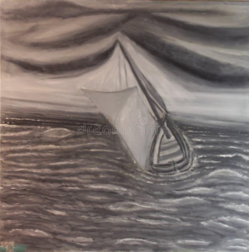 Bateau à voile gris en mer forte, par le  de Lovro BeraniÄ, 2016, 56x56cm, huile sur la toile, photographie stock libre de droits