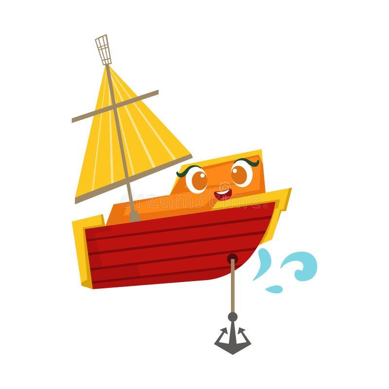 Bateau à voile orange et rouge avec une ancre, illustration Girly mignonne de bande dessinée de Toy Wooden Ship With Face illustration libre de droits