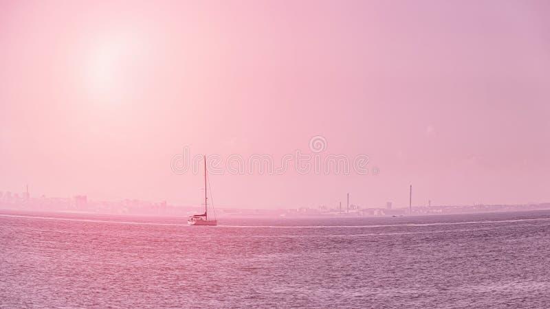 Bateau à voile sur la mer calme Rose modifi? la tonalit? Effet d'oeil de poissons format panoramique de 16:9 photographie stock