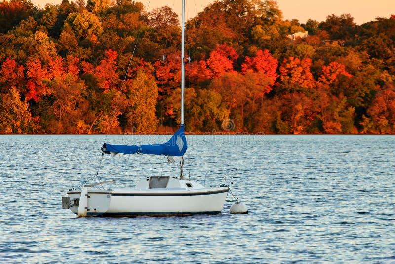 Bateau à voile sur le lac Harriet contre Autumn Foliage coloré photographie stock libre de droits