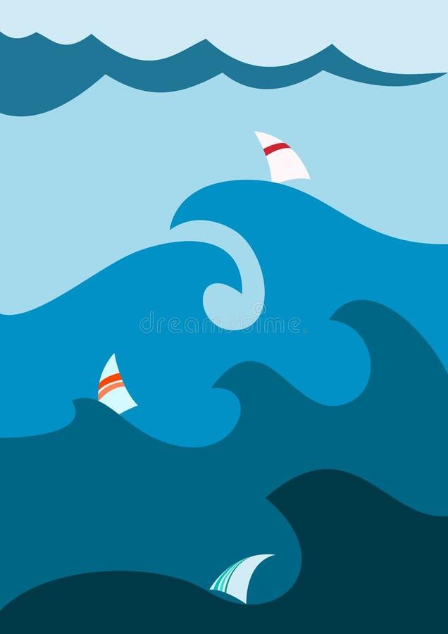 Bateau à voiles en mer illustration libre de droits