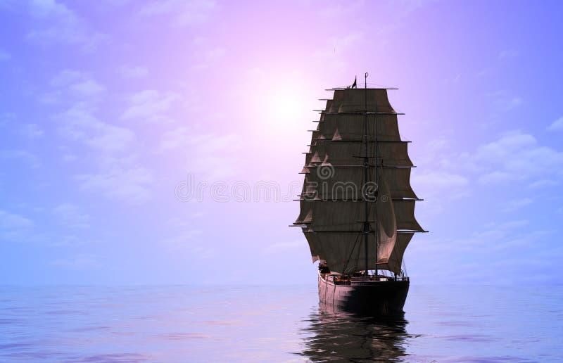 Bateau à voiles en mer. illustration de vecteur