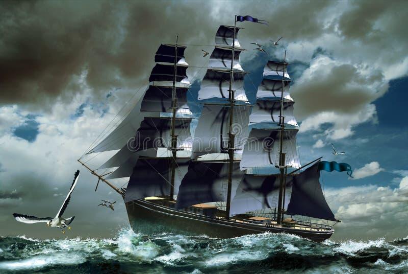 Bateau à voiles sur la mer non réglée illustration stock