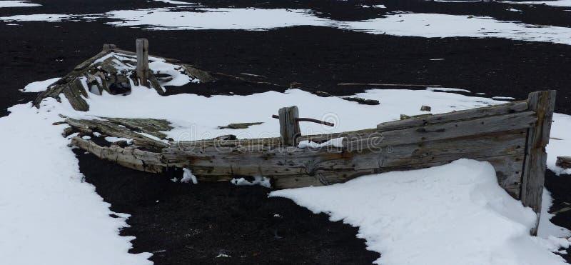Bateau abandonné du ` s de baleinier, Antarctique image libre de droits