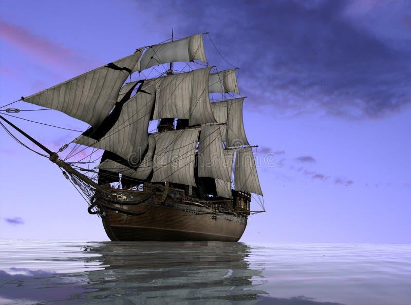 bateau antique illustration de vecteur