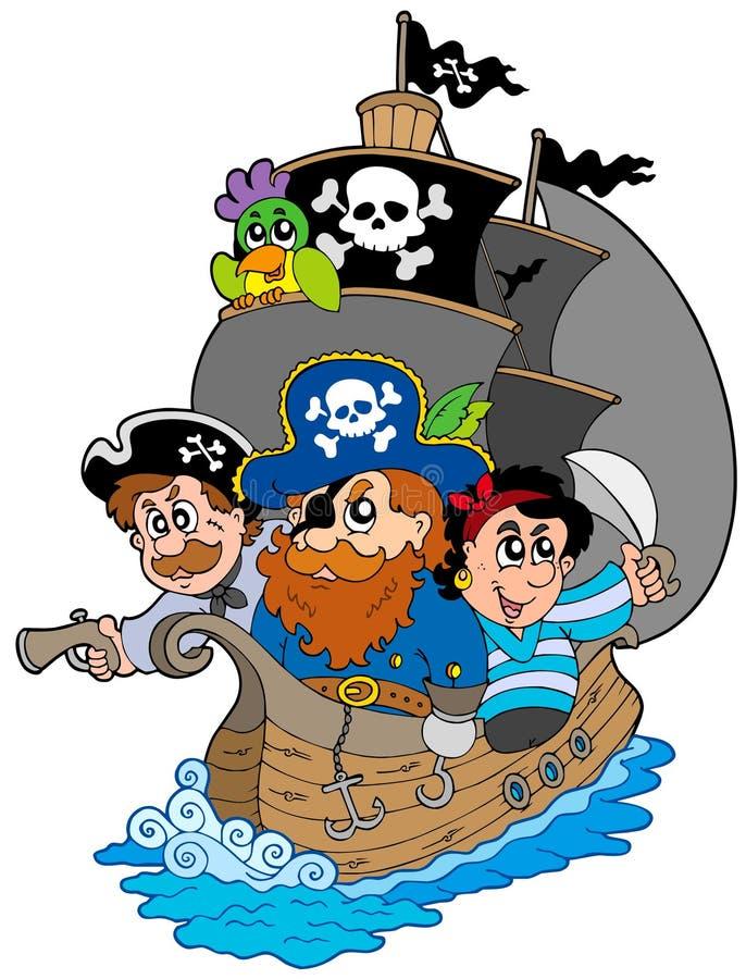 Bateau avec de divers pirates de dessin animé illustration libre de droits