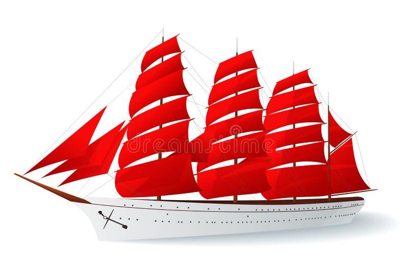 Bateau avec les voiles rouges (caravel) illustration stock