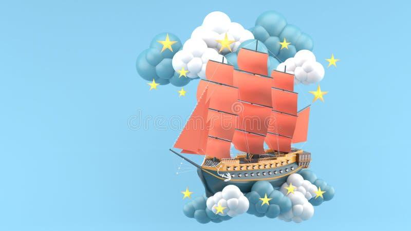 Bateau bleu avec les voiles oranges flottant dans les nuages et les étoiles sur le fond bleu illustration libre de droits