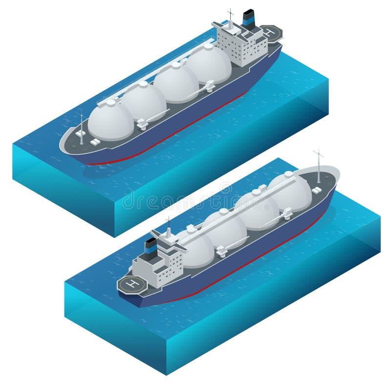 Bateau-citerne isométrique de gaz d'illustration de vecteur, conception plate d'isolement sur le fond blanc Amarré en mer Pétrole illustration libre de droits