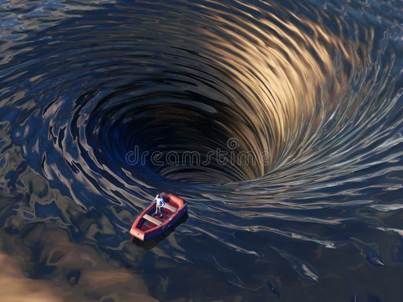 Bateau dérivant dans un entonnoir de l'eau illustration libre de droits
