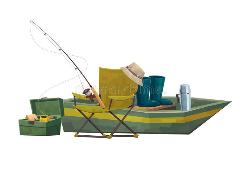 Bateau d'équipement de pêcheur d'illustration et tige de chaise illustration libre de droits