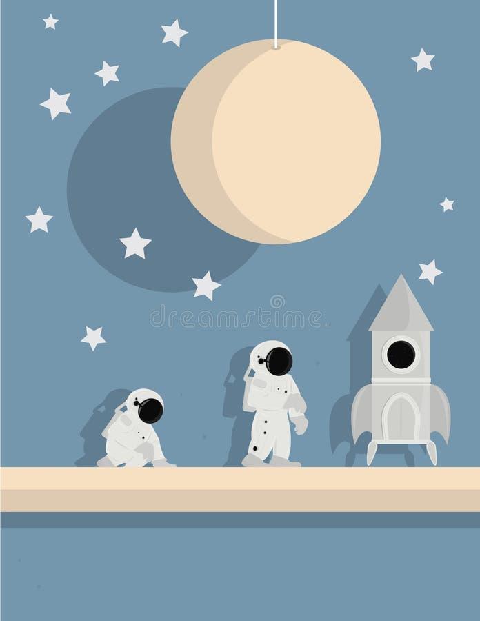 Bateau d'astronaute sur le fond d'étoile illustration libre de droits