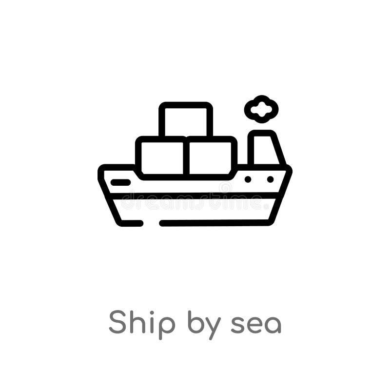 bateau d'ensemble par l'ic?ne de vecteur de mer ligne simple noire d'isolement illustration d'?l?ment de concept de la livraison  illustration stock