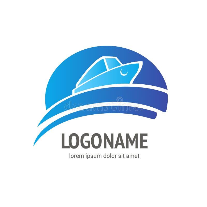 Bateau d'océan - concept de signe Illustration de bateau de mer Calibre de logo de vecteur illustration de vecteur