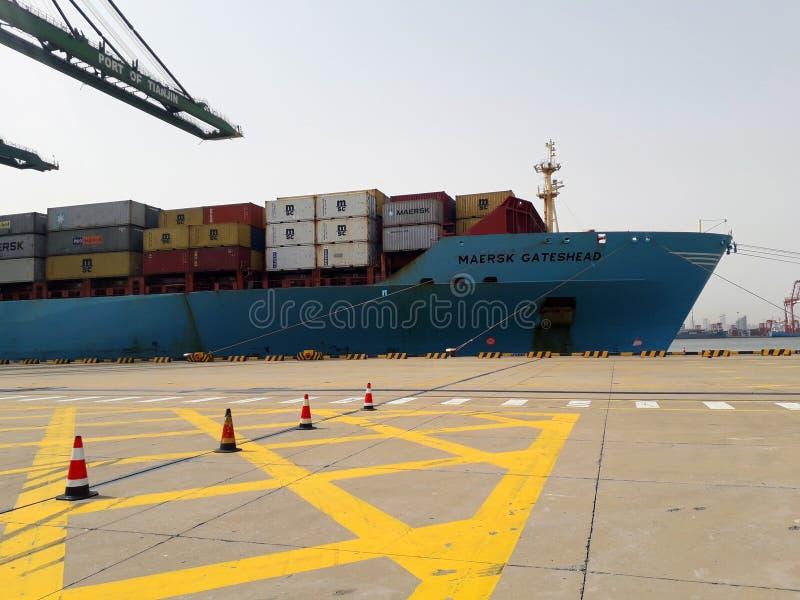 Bateau d'ontainer de ¡ de Ð dans le port maritime Tianjin, Chine images libres de droits
