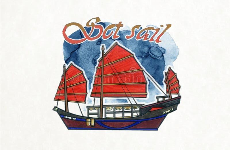 Bateau d'ordure de Rouge-voile de bateau de Hong Kong photographie stock libre de droits