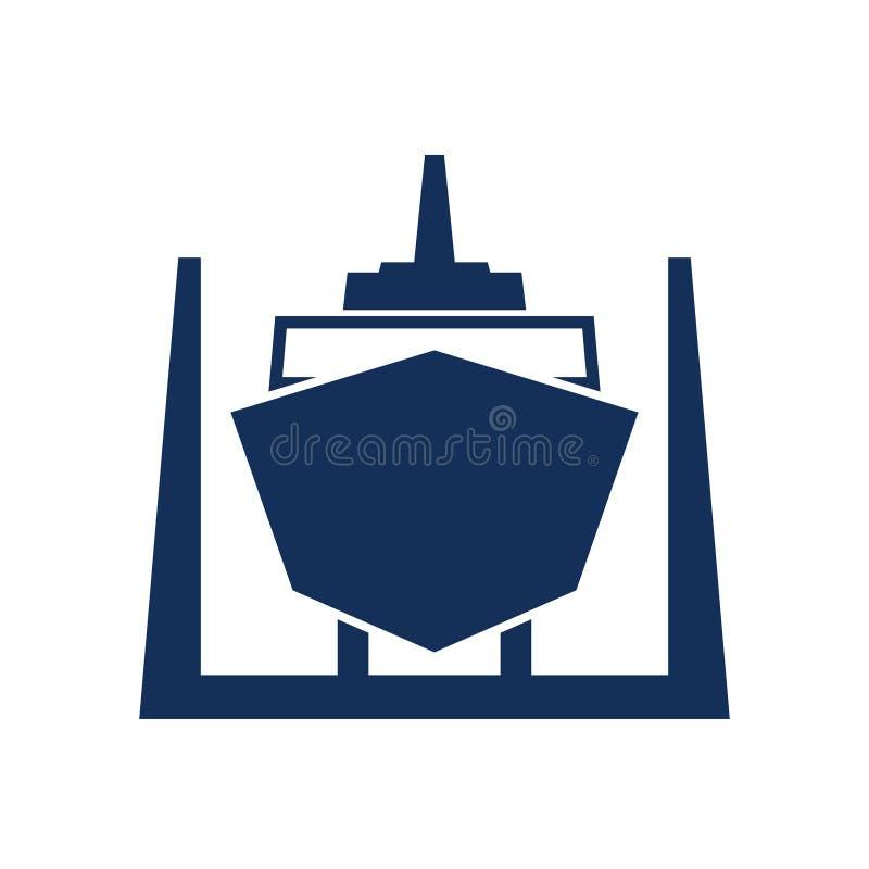 Bateau dans l'icône de dock sec illustration stock