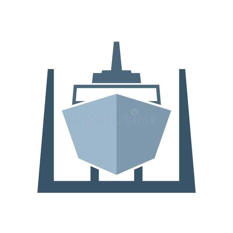 Bateau dans l'icône de dock sec illustration de vecteur