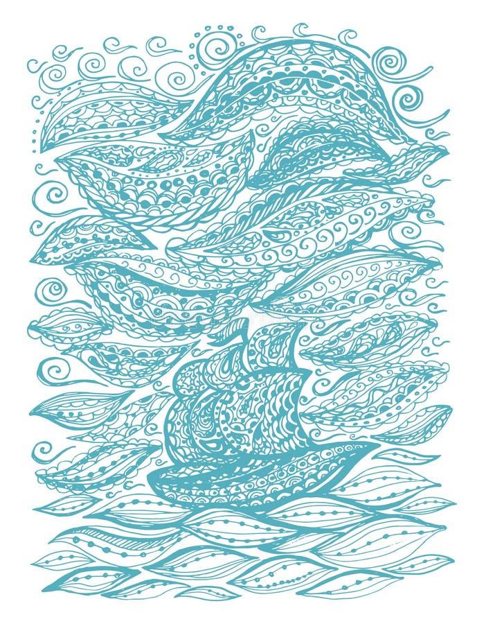 Bateau dans la mer et la tempête illustration de vecteur