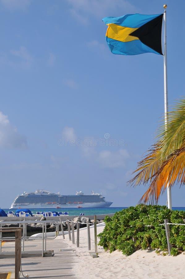 Bateau de croisière d'île des Bahamas image stock