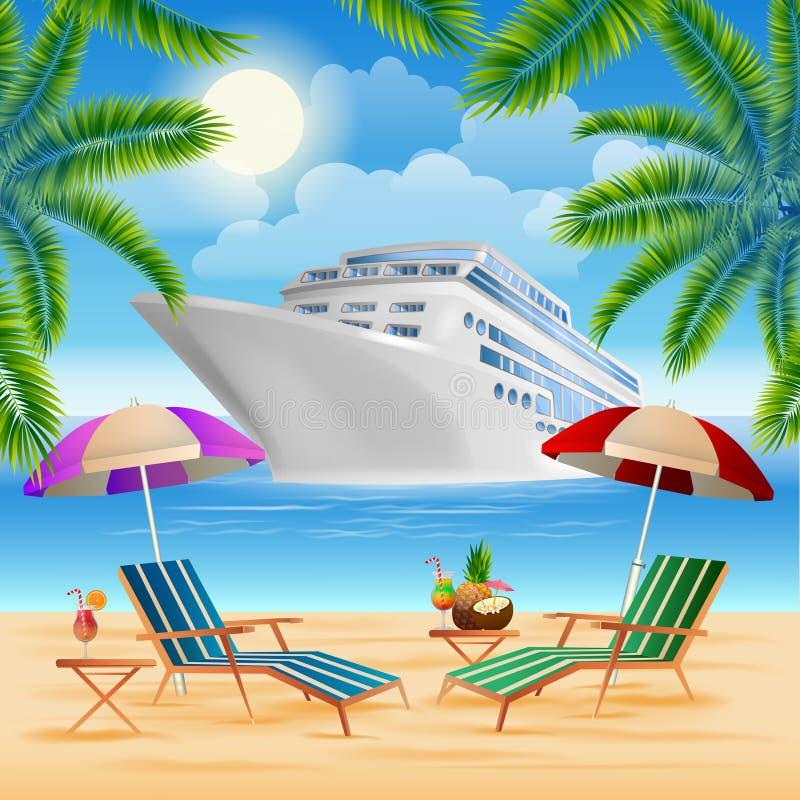Bateau de croisière tropical de paradis Île exotique avec des palmiers illustration de vecteur