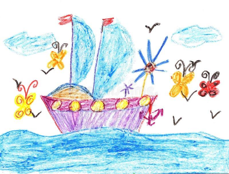 Bateau de dessin d 39 enfant en mer illustration stock illustration du port anchor 67742247 - Dessin bateau enfant ...