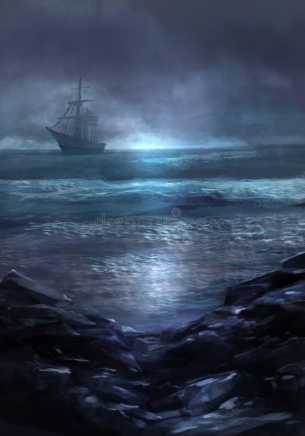 Bateau de Ghost illustration de vecteur