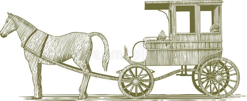 Bateau de gravure sur bois illustration de vecteur