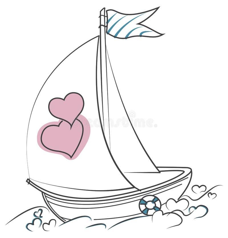 Bateau de l'amour avec deux coeurs sur les vagues des coeurs illustration de vecteur