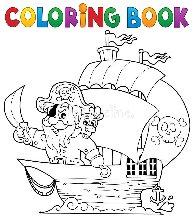 Bateau de livre de coloriage avec le pirate 1 illustration stock