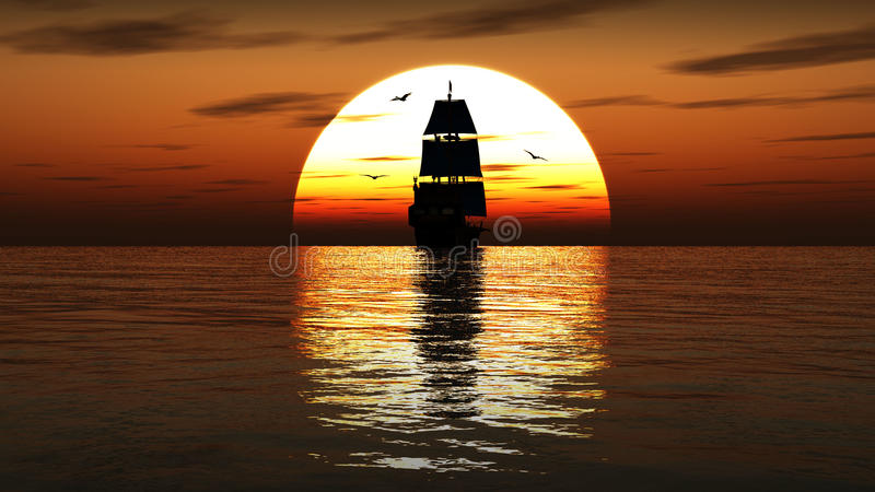 Bateau de navigation antique au coucher du soleil 3d rendent illustration stock